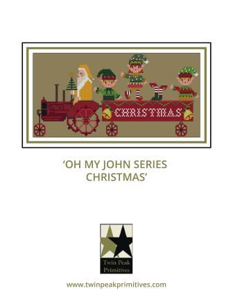Twin Peak Primitives - Oh My John Series - Christmas-Twin Peak Primitives - Oh My John Series - Christmas, farming, animals, winter, Santa Claus, elves, cross stitch