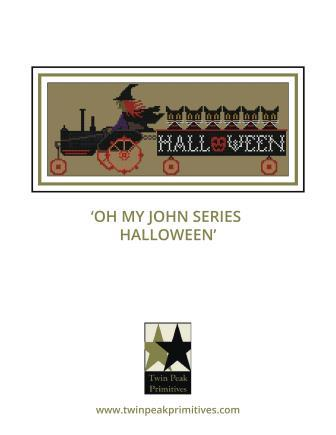 Twin Peak Primitives - Oh My John Series - Halloween-Twin Peak Primitives - Oh My John Series - Halloween, Oct 31, witch, tractor, pumkins, black cats, cross stitch