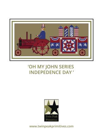 Twin Peak Primitives - Oh My John Series - Independence Day-Twin Peak Primitives - Oh My John Series - Independence Day, USA, Uncle Sam, 4th of July, cross stitch, tractor, farm,