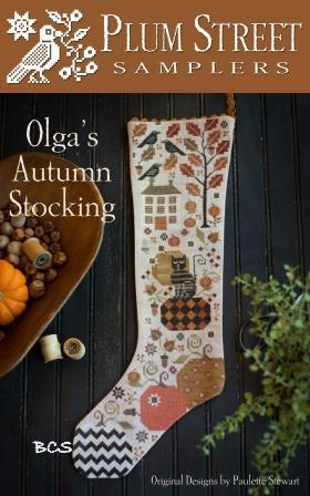 Plum Street Samplers - Olga's Autumn Stocking-Plum Street Samplers - Olgas Autumn Stocking, fall, pumpkins, cross stitch, leaves,