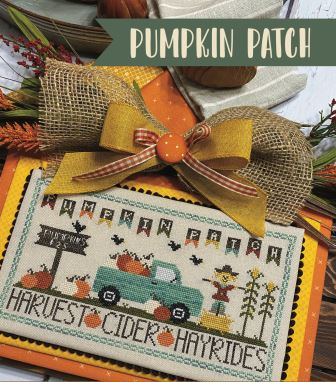 Primrose Cottage Stitches - Pumpkin Patch-Primrose Cottage Stitches - Pumpkin Patch, fall, truck, pumpkins, hay bales, crow, scarecrow, cross stitch