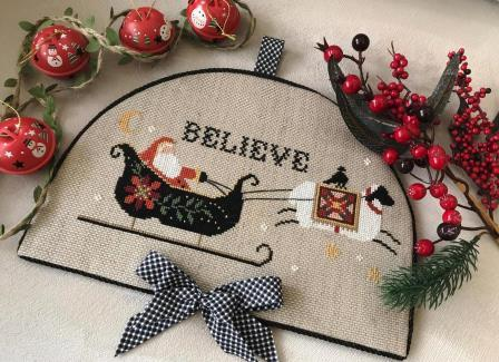 Twin Peak Primitives - Believe in Santa-Twin Peak Primitives - Believe in Santa, Santa Claus, Christmas Eve, Sheep, Ewe, Christmas, cross stitch