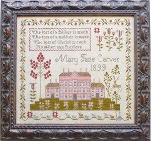 Plum Street Samplers - Pink House Sampler - Cross Stitch Chart-Plum Street Samplers, Pink House Sampler, homes, flowers,samplers.  Cross Stitch Chart