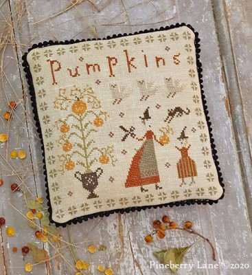 Pineberry Lane - Fancey Blackett - The Perfect Pumpkin-Pineberry Lane - Fancey Blackett - The Perfect Pumpkin, fall, primitive, black cat, pin cushion, cross stitch