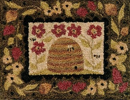 Teresa Kogut - Beeutiful Garden - Punchneedle-Teresa Kogut - Beeutiful Garden - Punchneedle, bee hive, bees, flowers, honey, primitive,