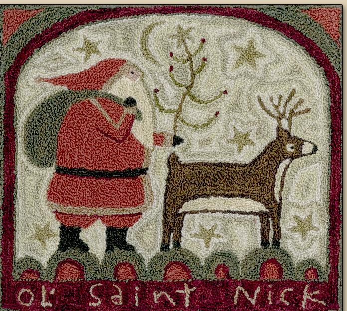 Teresa Kogut - Ol' Saint Nick - Punchneedle-Teresa Kogut - Ol Saint Nick - Punchneedle, Santa Claus, Rudolph, Christmas, Winter, Christmas Eve,