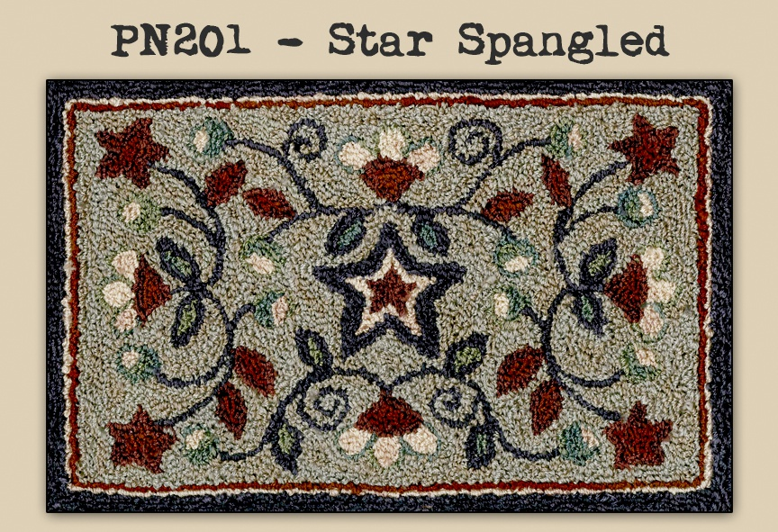 Teresa Kogut - Star Spangled - Punchneedle-Teresa Kogut - Star Spangled - Punchneedle, red, white, blue, patriotic, embroidery,