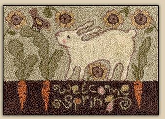 Teresa Kogut - Carrot Row - Punchneedle-Teresa Kogut - Carrot Row - Punchneedle, spring, Easter, bunny, carrots, sunflowers,