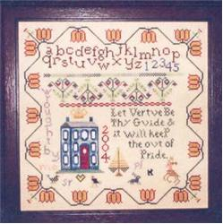 Praiseworthy Stitches - Red Door Sampler-Praiseworthy Stitches - Red Door Sampler, sampler, virtues, cross stitch
