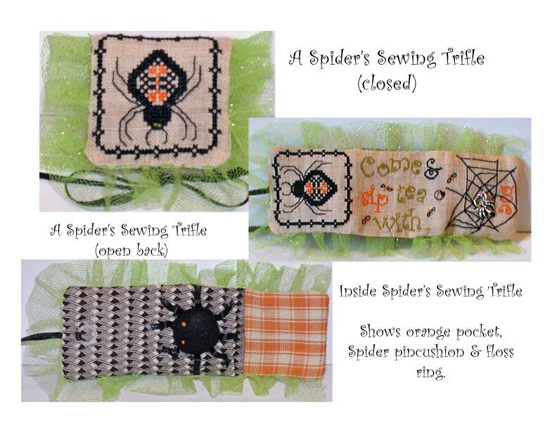 Praiseworthy Stitches - Spider's Sewing Trifle - Limited Edition Kit-Praiseworthy Stitches - Spiders Sewing Trifle - Limited Edition Kit, Halloween, pincushion, needle book, cross stitch