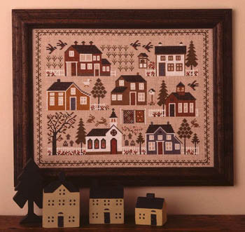 Prairie Schooler - Village Sampler-Prairie Schooler - Village Sampler, houses, neighborhood, families, neighbors, cross stitch