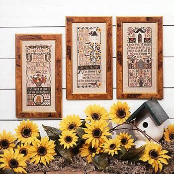 Prairie Schooler - Garden Samplers-Prairie Schooler - Garden Samplers, bird houses, house, flowers, cross stitch