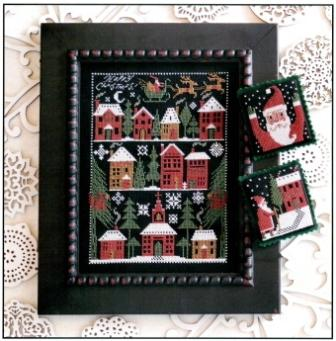 Prairie Schooler - Happy Christmas-Prairie Schooler, Happy Christmas, 2013 christmas, christmas village, santa claus, merry christmas, black aidaq, Cross Stitch Pattern