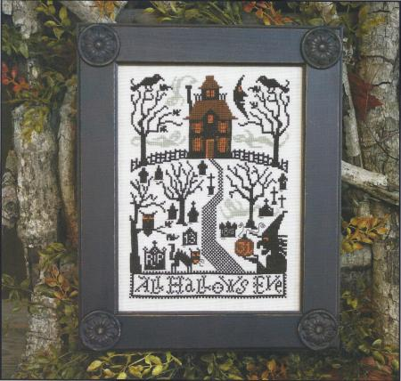 Prairie Schooler - All Hallows Eve-Prairie Schooler,All, Hallows, Eve,Cross, Stitch, Chart, Halloween, night, cemetary, 