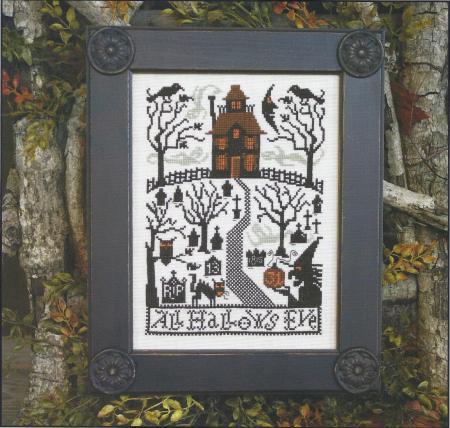 Prairie Schooler - All Hallows Eve-Prairie Schooler,All, Hallows, Eve,Cross, Stitch, Chart, Halloween, night, cemetary,  crow, witch,