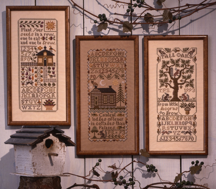 Prairie Schooler - Band Samplers-Prairie Schooler - Band Samplers,  houses, country, fall, trees, cross stitch, samplers