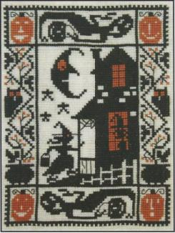 Prairie Schooler - Knock! Knock! - Cross Stitch Chart-Prairie,Schooler, Knock!,Knock!,Cross, Stitch,Chart, Halloween, ghost, haunted house, owl,pumpkin, witches brew, witch,trick or treat,