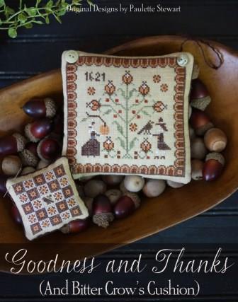 Plum Street Samplers - Goodness and Thanks-Plum Street Samplers - Goodness and Thanks, Thanksgiving, pilgrims, fall, pin cushion, cross stitch