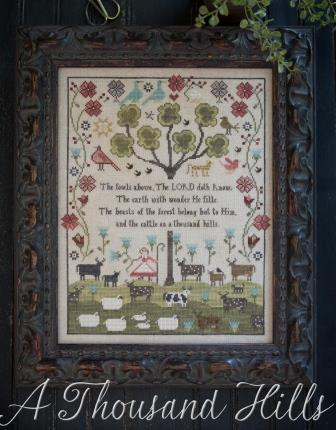 Plum Street Samplers - A Thousand Hills-Plum Street Samplers - A Thousand Hills, Psalm 5010-11. bible verse, animals, shepherdess,
