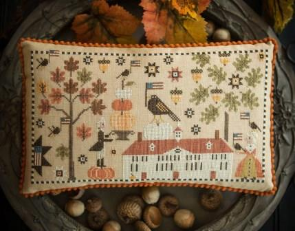 Plum Street Samplers - George Decorates for Martha-Plum Street Samplers - George Decorates for Martha, President, USA, autumn, White House, cross stitch