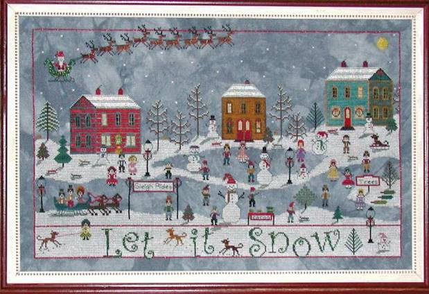 Praiseworthy Stitches - December Snow-Praiseworthy Stitches - December Snow, Christmas, Santa Claus, snow, cross stitch, snowman,