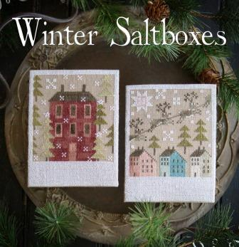Plum Street Samplers - The Salt Shakers - Winter Saltboxes-Plum Street Samplers - The Salt Shakers - Winter Saltboxes, houses, reindeer, Christmas, cross stitch