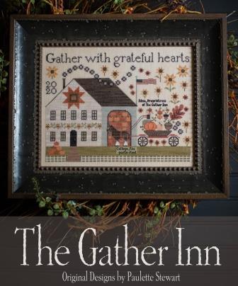 Plum Street Samplers - Gather Inn (The)-Plum Street Samplers - Gather Inn The, fall, pumpkin, carriage, barn, quilt, American flag, Cinnamon Stars, cross stitch