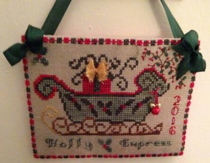 The Purple Thread - The Holly Express Kit-The Purple Thread - The Holly Express Kit, Christmas, sleigh, gifts, cross stitch, kit,