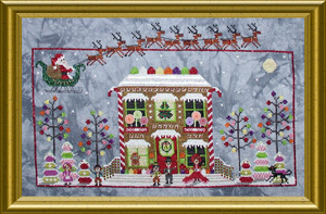 Praiseworthy Stitches - Gingerbread Cottage-Praiseworthy Stitches - Gingerbread Cottage, Christmas, drum, candy, snow, pin cushion, Santa Claus, cross stitch