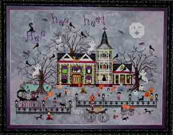 Praiseworthy Stitches - Croaking Toad Manor - Cross Stitch Pattern-Praiseworthy Stitches, Croaking Toad Manor, ghosts, Halloween, frogs, haunted house, spooky, trick or treat, pumpkins, jack o lanterns , crows, black cats, witch's hat, children, halloween costumes, carriages, spider webs, headstones, pond, haunted mansion, bats, Cross Stitch Pattern