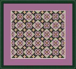 Whispered by the Wind - Path of Violets-Whispered by the Wind, Path of Violets,quilt, doll house, rug, bedspread, purple, Cross Stitch Pattern