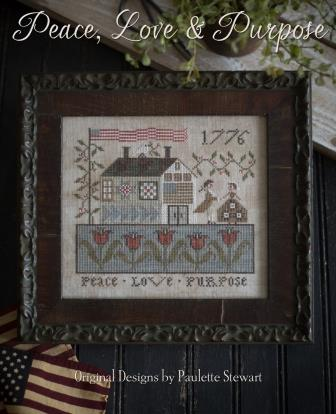 Plum Street Samplers - Peace, Love & Purpose-Plum Street Samplers - Peace, Love  Purpose , house, couple, quilts, love, cross stitch