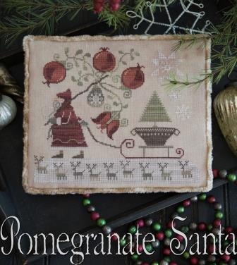 Plum Street Samplers - Pomegranate Santa-Plum Street Samplers - Pomegranate Santa, Santa Claus, fruit, pomegranate, Christmas, cross stitch