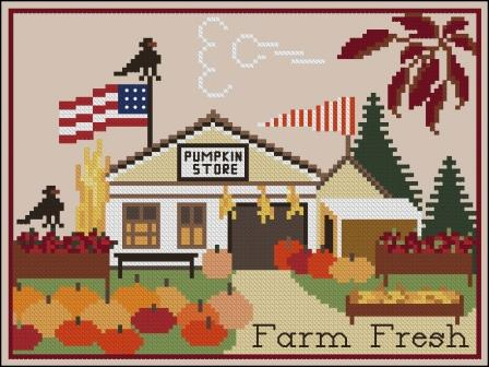 Twin Peak Primitives - Pumpkin Store-Twin Peak Primitives - Pumpkin Store, fall, pumpkins, autumn, country store, cross stitch