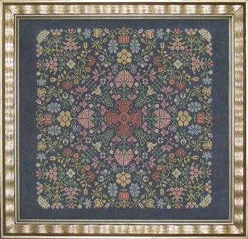 Ink Circles - Quaker Floral Puzzle-Ink Circles - Quaker Floral Puzzle - Cross Stitch Pattern, flowers,