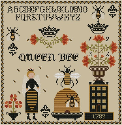 Twin Peak Primitives - Queen Bee Sampler-Twin Peak Primitives - Queen Bee Sampler, bees, bee hive, honey, honeycomb, cross stitch