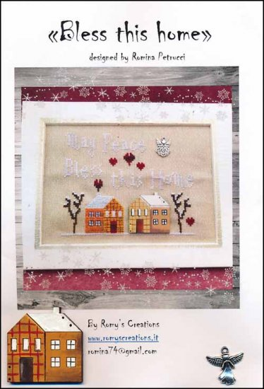 Romy's Creations - Bless This Home-Romys Creations - Bless This Home, blessings, family, togetherness, house, winter, buttons, cross stitch, angel