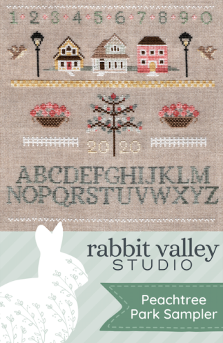 Rabbit Valley Studio - Peachtree Park Sampler-Rabbit Valley Studio - Peachtree Park Sampler, homes, neighborhood, fruit, alphabet, cross stitch