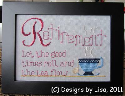 Designs by Lisa - Retirement Tea -  Cross Stitch Pattern