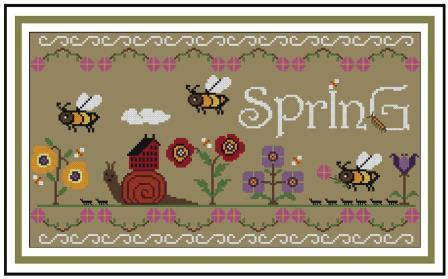 Twin Peak Primitives - Spring Revival-Twin Peak Primitives - Spring Revival , snail, flowers, cross stitch, houses,
