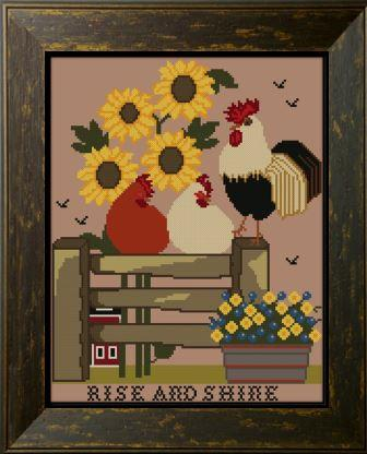 Twin Peak Primitives - Rise & Shine-Twin Peak Primitives - Rise  Shine, farm, rooster, chickens, barn, morning, cross stitch