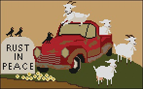Twin Peak Primitives - Rust in Peace-Twin Peak Primitives - Rust in Peace, old truck, country, farm, cross stitch
