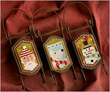 Lizzie Kate - Sled Dudes -Lizzie Kate, Sled Dudes, Santa Claus, polar bear, snow man, Christmas ornaments, Cross Stitch Patterns