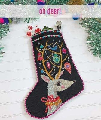 Satsuma Street - Oh Deer!-Satsuma Street - Oh Deer , stocking, Christmas, Rudolph, ornaments, cross stitch