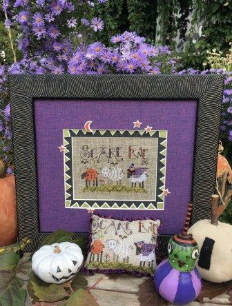 Shepherd's Bush - Scare Ewe-Shepherds Bush - Scare Ewe, Halloween, witchs hat, button, pumpkin, sheep, fall, cross stitch
