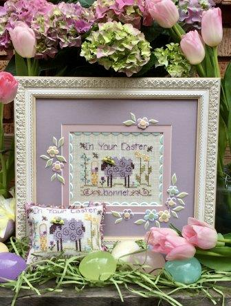 Shepherd's Bush - In Your Easter Bonnet (free chart)-Shepherds Bush - In Your Easter Bonnet free chart, sheep, Easter clothes, hat, sheep, Easter basket, flowers, cross stitch