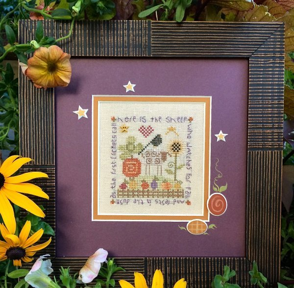 Shepherd's Bush - Autumn Sheep Kit-Shepherds Bush - Autumn Sheep Kit  sheep, Fall, autumn, pumpkins, heart, cross stitch kit