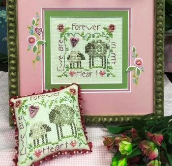 Shepherd's Bush - Ewe are Forever in My Heart Button with free chart-Shepherds Bush - Ewe are Forever in My Heart Button with free chart, Valentines Day, hearts, love, sheep, cross stitch