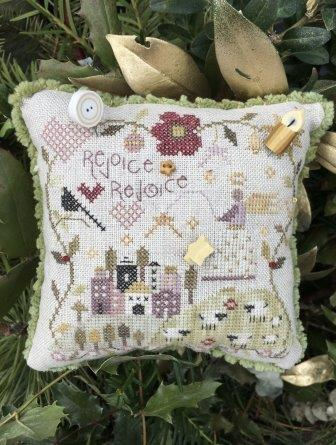 Shepherd's Bush - Rejoice Rejoice Pincushion Kit-Shepherds Bush - Rejoice Rejoice Pincushion Kit,  Christmas, angel, Bethlehem, Jesus, cross stitch