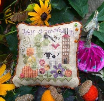 Shepherd's Bush - Safely Gathered Pin Cushion Kit-Shepherds Bush - Safely Gathered Pin Cushion Kit, sheep, family, bewellandstitch, cross stitch